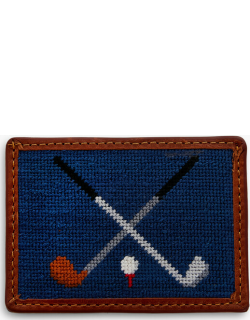 Navy Crossed Clubs Needlepoint Card Wallet