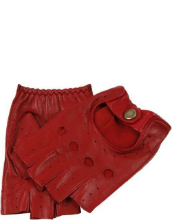 Dents Women's Fingerless Leather Driving Gloves In Berry
