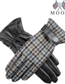 Dents Women's Leather & Abraham Moon Tweed Gloves In Black/slate