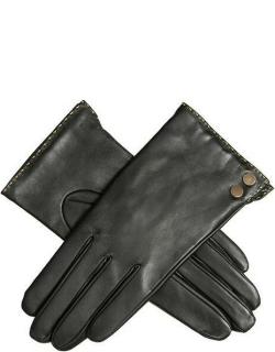 Dents Women's Leather Gloves With Metallic Details In Black