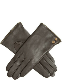 Dents Women's Leather Gloves With Metallic Details In Mocca