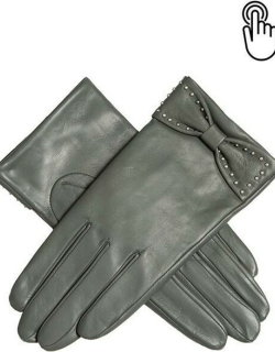 Dents Women'S Touchscreen Leather Gloves With Bow In Charcoal