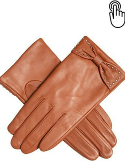 Dents Women'S Touchscreen Leather Gloves With Bow In Cognac