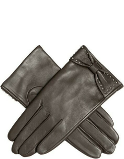 Dents Women'S Touchscreen Leather Gloves With Bow In Mocca
