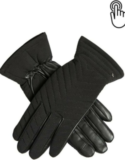 Dents Women's Quilted Fabric Gloves With Touchscreen Leather Palms In Black