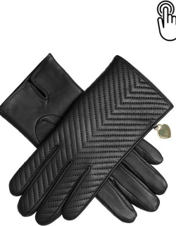 Dents Women's Touchscreen Quilted Leather Gloves With Heart Pendant In Black