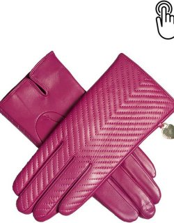 Dents Women's Touchscreen Quilted Leather Gloves With Heart Pendant In Hot Pink