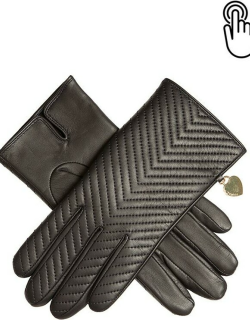 Dents Women's Touchscreen Quilted Leather Gloves With Heart Pendant In Mocca