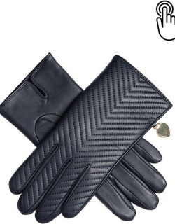 Dents Women's Touchscreen Quilted Leather Gloves With Heart Pendant In Navy