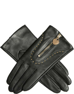 Dents Women's Studded Leather Gloves With Heart Pendant In Black