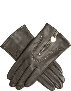 Dents Women's Studded Leather Gloves With Heart Pendant In Mocca