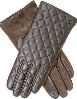 Dents Women's Touchscreen Quilted Leather Gloves In Brown