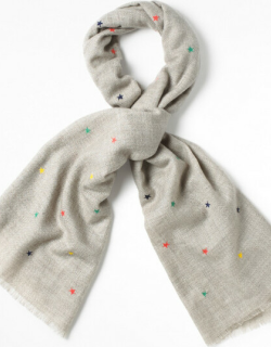 White Stuff Star Embroidered Midweight Scarf