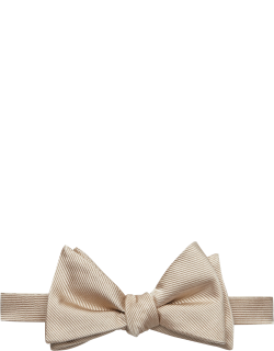 JoS. A. Bank Men's Ribbed Pre-Tied Bow Tie, Champagne, One