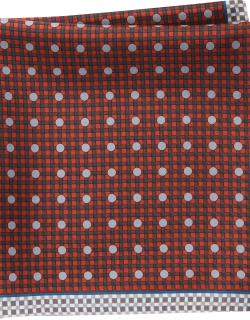 JoS. A. Bank Men's Check & Dot Pattern Pocket Square Clearance, Burgundy, One