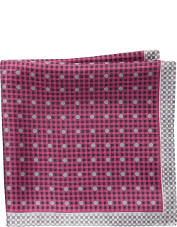 JoS. A. Bank Men's Check & Dot Pattern Pocket Square Clearance, Dark Pink, One