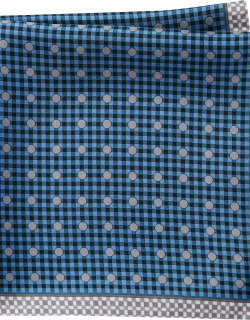 JoS. A. Bank Men's Check & Dot Pattern Pocket Square Clearance, Navy, One