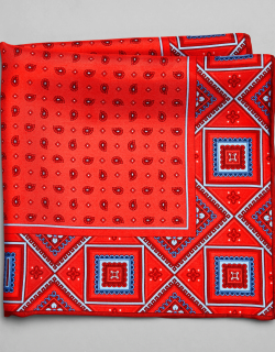 JoS. A. Bank Men's Geometric Edged Silk Pocket Square, Red, One