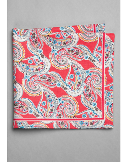 JoS. A. Bank Men's Paisley & Floral Linen and Cotton Blend Pocket Square, Coral, One
