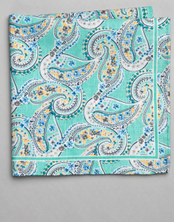 JoS. A. Bank Men's Paisley & Floral Linen and Cotton Blend Pocket Square, Light Green, One