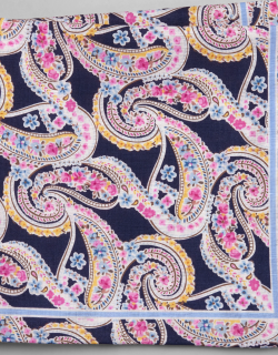 JoS. A. Bank Men's Paisley & Floral Linen and Cotton Blend Pocket Square, Navy, One