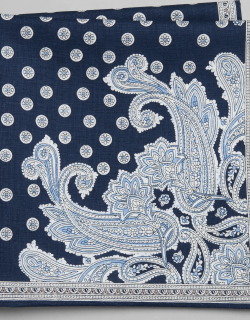 JoS. A. Bank Men's Paisley & Medallion Linen and Cotton Pocket Square, Navy, One