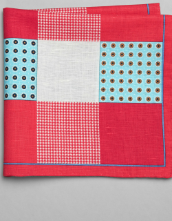 JoS. A. Bank Men's Patterned Squares Linen & Cotton Pocket Square, Red, One