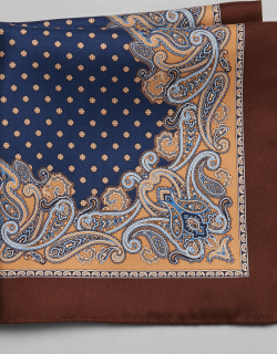 JoS. A. Bank Men's Silk Paisley Edged Pocket Square, Gold, One