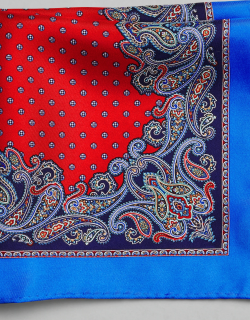 JoS. A. Bank Men's Silk Paisley Edged Pocket Square, Red, One
