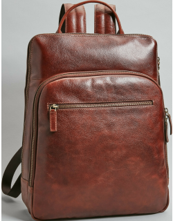JoS. A. Bank Men's Leather Backpack, Brown, One