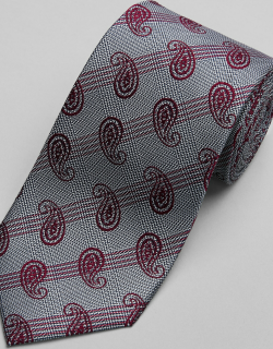 JoS. A. Bank Men's Reserve Collection Paisley & Plaid Tie, Red, One