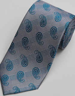JoS. A. Bank Men's Reserve Collection Paisley & Plaid Tie, Teal, One