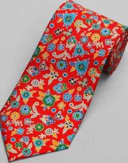 JoS. A. Bank Men's Reserve Collection Vibrant Floral Tie, Red, One