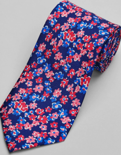 JoS. A. Bank Men's Reserve Collection Floral Tie, Blue, One