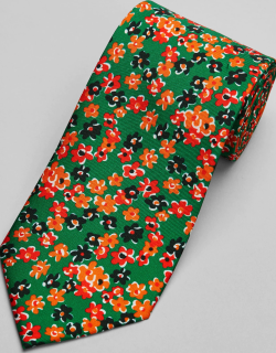 JoS. A. Bank Men's Reserve Collection Floral Tie, Green, One