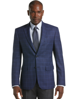 JoS. A. Bank Men's Traveler Collection Tailored Fit Windowpane Check Sportcoat Clearance, Navy, 44 Long