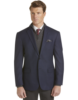 JoS. A. Bank Men's Traveler Collection Traditional Fit Tattersall Sportcoat Clearance, Navy, 44 Regular