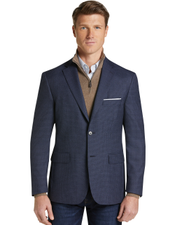 JoS. A. Bank Men's Traveler Collection Tailored Fit Check Sportcoat Clearance, Bright Blue, 44 Regular