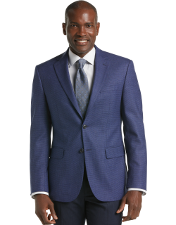 JoS. A. Bank Men's Traveler Collection Tailored Fit Tic Weave Sportcoat Clearance, Blue, 42 Regular