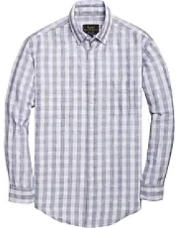 Reserve Collection Traditional Fit Long Sleeve Button Down Collar Check Linen Men's Sportshirt - Big & Tall CLEARANCE