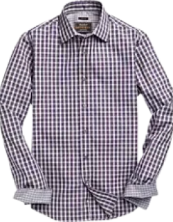 Reserve Collection Slim Fit Spread Collar Check Men's Sportshirt CLEARANCE