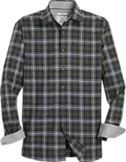 1905 Collection Tailored Fit Spread Collar Plaid Men's Sportshirt CLEARANCE