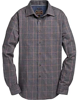 Reserve Collection Tailored Fit Spread Collar Plaid Cotton and Cashmere Blend Men's Sportshirt CLEARANCE