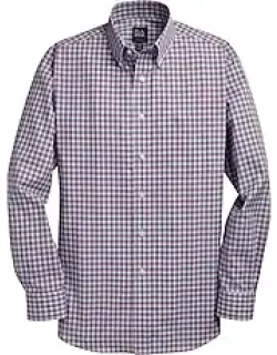 Traveler Collection Tailored Fit Button Down Collar Plaid Men's Sportshirt - Big & Tall CLEARANCE