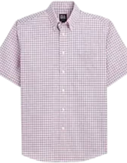 Traveler Collection Traditional Fit Button-Down Collar Check Short-Sleeve Men's Sportshirt - Big & Tall