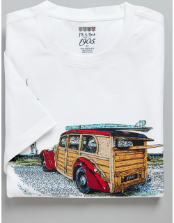 JoS. A. Bank Men's 1905 Collection Tailored Fit Crew Neck Woody Print T-Shirt - Big & Tall Clearance, White, 2 X Big