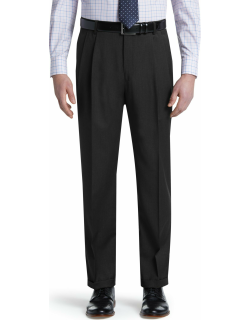 JoS. A. Bank Men's Traveler Collection Traditional Fit Pleated Pants - Big & Tall Clearance, Charcoal, 44x30