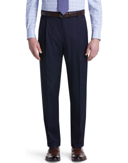 JoS. A. Bank Men's Traveler Collection Traditional Fit Pleated Pants - Big & Tall Clearance, Navy, 46x30