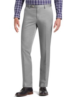 JoS. A. Bank Men's Traveler Collection Tailored Fit Flat Front Twill Pants, Grey, 34x29