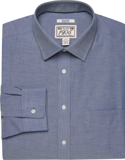 JoS. A. Bank Men's 1905 Collection Slim Fit Spread Collar Chambray Dress Shirt Clearance, Blue, 16x33